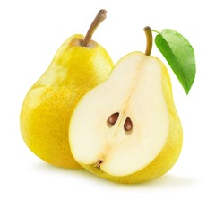 Isolated pears. One and a half yellow pear isolated on white background