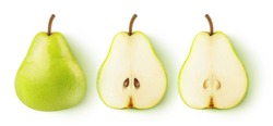 Isolated pears. Whole yellow green pear fruit and two halves in a row isolated on white background with clipping path