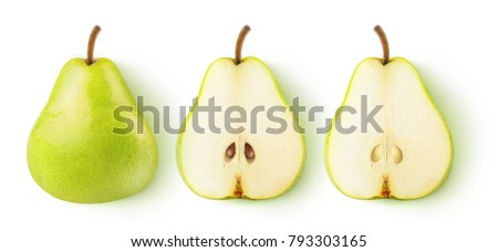 Isolated pears. Whole yellow green pear fruit and two halves in a row isolated on white background with clipping path #793303165