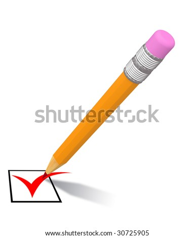 isolated pencil with red mark on white background