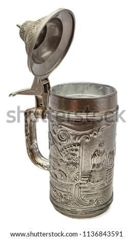 isolated pewter beer mug with open top #1136843591