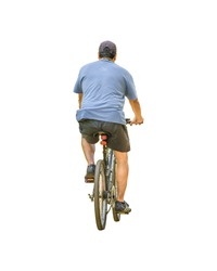 Isolated photo back view man riding bicycle