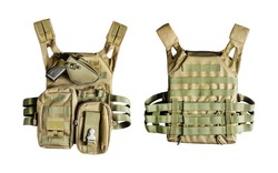 Isolated photo of a military armor olive colored tactical vest molle system with pouches, front and rear view on white background.