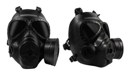 Isolated photo of a military black mask front and angle view on white background.