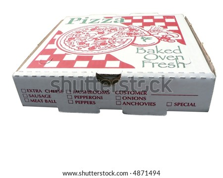 isolated photo of a pizza box with clipping path included