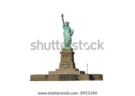 Isolated photo of the Statue of Liberty and her pedestal. - stock photo