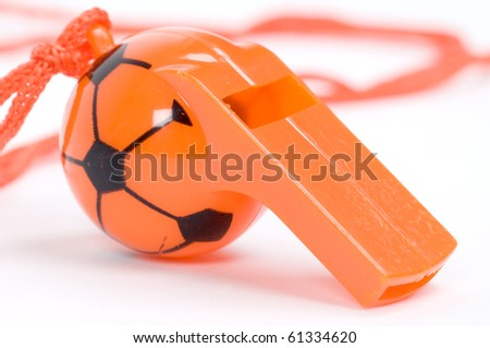 isolated picture of an orange whistle