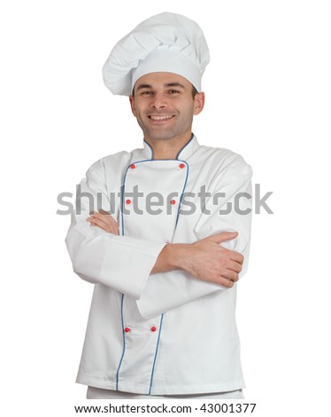 Isolated picture of an smiling restaurant chef