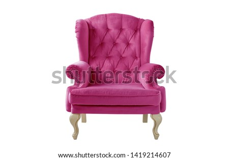 Isolated pink armchair. Vintage armchair. Insulated furniture. Pink chair. Pink velvet armchair