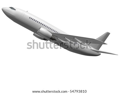 Isolated plane taking off