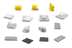 Isolated plastic postal package arranged in the studio light in front of white background from shopping online, is delivered to the buyer.