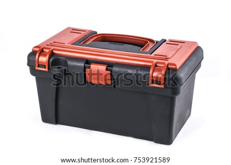 Isolated plastic toolbox with red top on white background