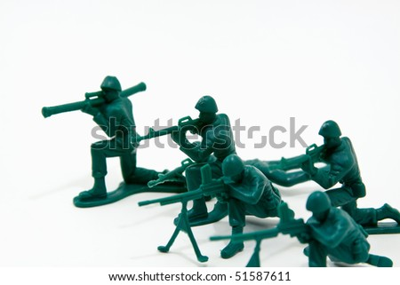 Isolated Plastic Toy Soldiers - Attack