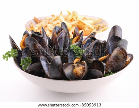 isolated plate of mussels on white background