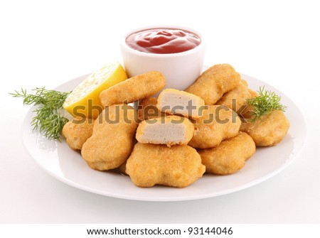 isolated plate of nuggets with ketchup