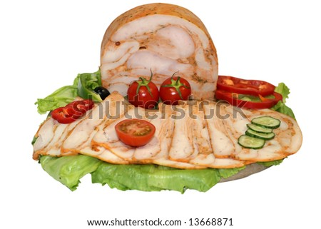 isolated plate with chicken chest salami