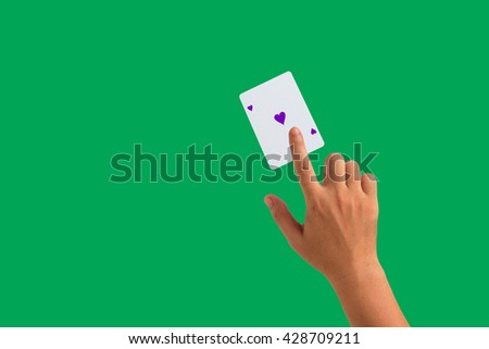 isolated playing cards and hand holding  #428709211