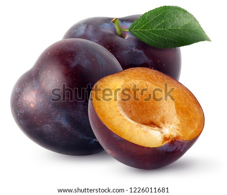 Isolated plums. Two whole and a half of blue plum fruit isolated on white background, with clipping path Foto stock ©