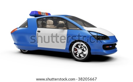 Isolated police car over white background