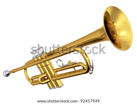 Isolated polished brass trumpet. Includes pro clipping path.