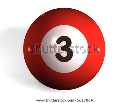 isolated pool ball number 3 - stock photo