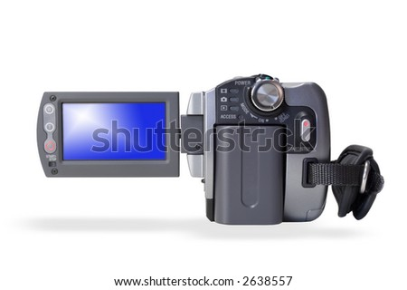 Isolated portable video camera over white background