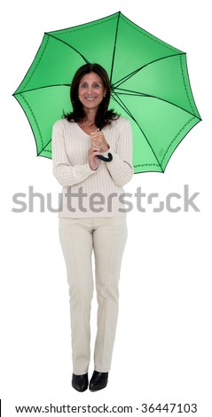 Isolated portrait of a beautiful business woman holding a green umbrella