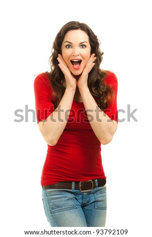 Isolated portrait of a beautiful surprised woman wearing a bright red top.