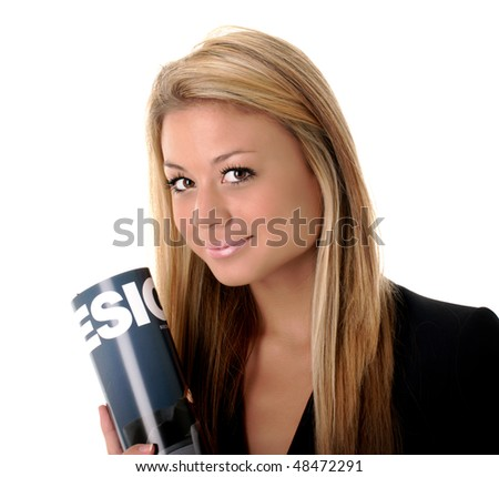 Isolated portrait of a businesswoman holding a magazine