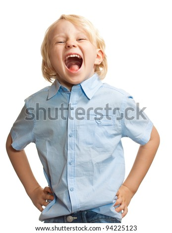 Isolated portrait of a cute young boy screaming