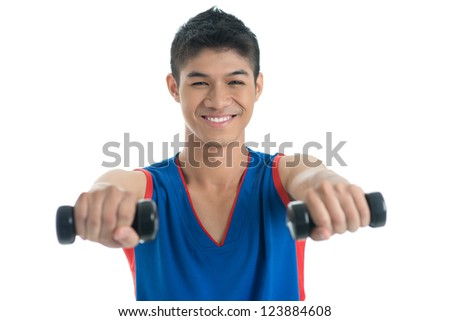 Isolated portrait of a happy guy living a healthy lifestyle