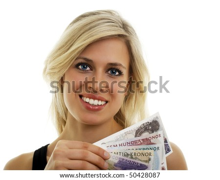 Isolated portrait of a Swedish girl holding Swedish bills. - stock photo
