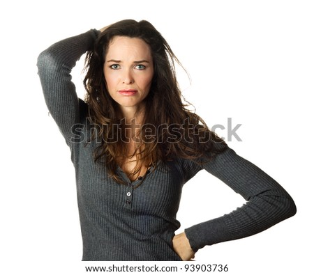 Isolated portrait of a very worried and concerned beautiful woman.
