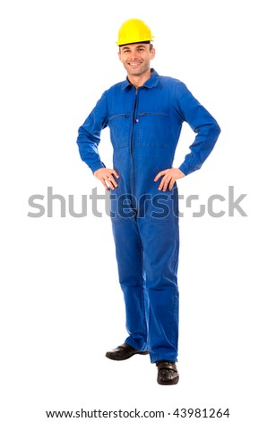 Isolated portrait of a workman with blue coveralls and hardhat