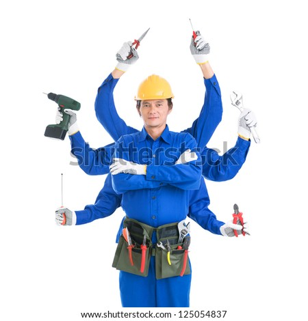 Isolated portrait of an experienced contractor with multiple hands holding tools