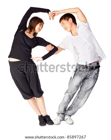 isolated portrait of asian guy and european girl dancing hustle standing togeteher in heart shape