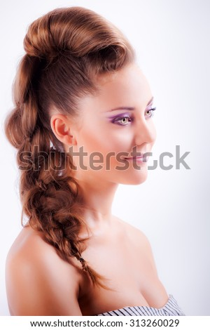 Isolated Portrait Sideview Of Blonde Young Girl In Elegant Whimsical