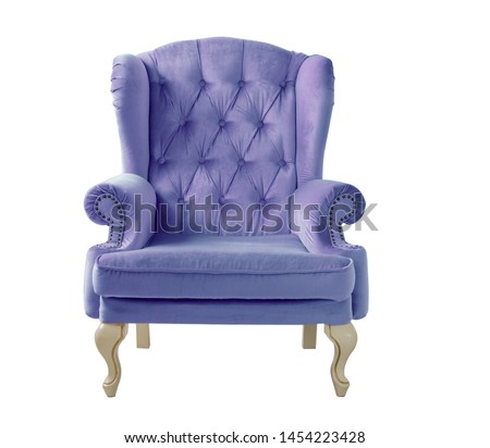 Isolated purple armchair. Vintage lilac velvet armchair on white background. Insulated furniture #1454223428