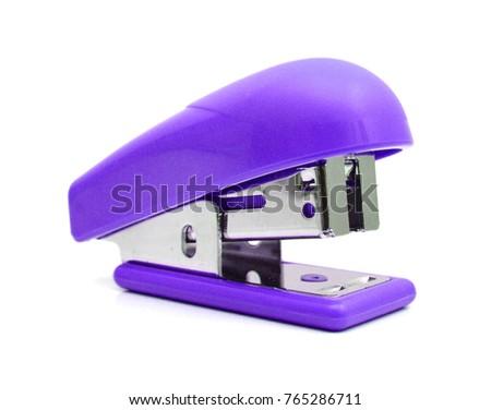 Isolated purple Stapler on white background