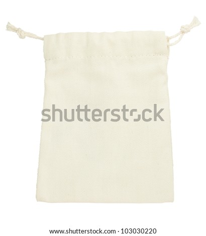 isolated purse string cotton bag on white background with path