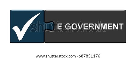 Isolated Puzzle Button with Symbols showing E Government