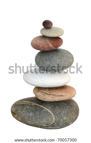 isolated pyramid of smooth stones
