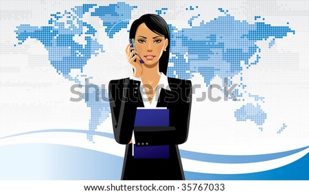 Isolated raster version of vector image of a business women on the world map background (contain the Clipping Path of the girl) - stock photo