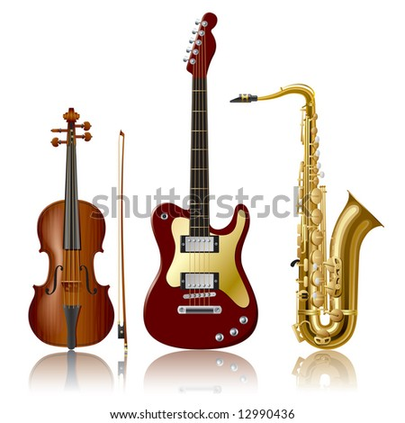 Isolated raster version of vector musical Instruments (contain the Clipping Path of every object)