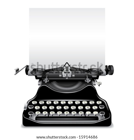 Isolated raster version of vector old typewriter with a paper (contain the Clipping Path)