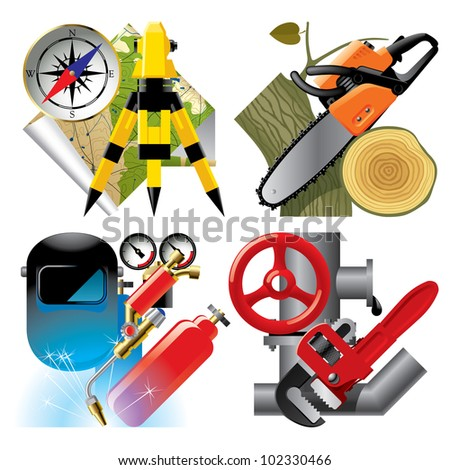 Isolated raster version of vector set of detailed job occupation icons with tools and equipment