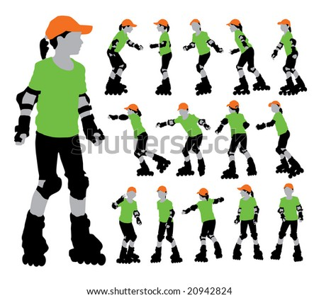 Isolated raster version of vector set of roller girl's silhouettes (contain the Clipping Path of all objects)