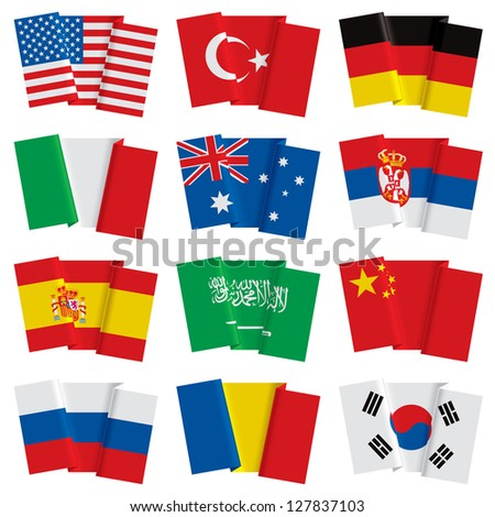 Isolated raster version of vector set of world flags (contain the Clipping Path of all objects)