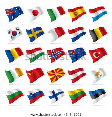 Isolated raster version of vector set of world flags 2 (contain the Clipping Path of all objects)