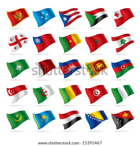 Isolated raster version of vector set of world flags 4 (contain the Clipping Path of all objects) - stock photo